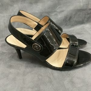 Coach shoes black heels patent straps 7.5